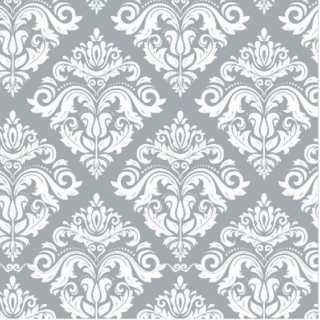 110 MTS X 62 CM ROLLO PAPEL DE SEDA PLATA DECORADO/ ESTAMPADO DAMASCO