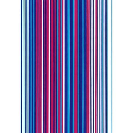 110 Mts x 70 cm Bobina de Papel de Regalo Rayas Burdeos, Azul, Oro - Clásico Elegante