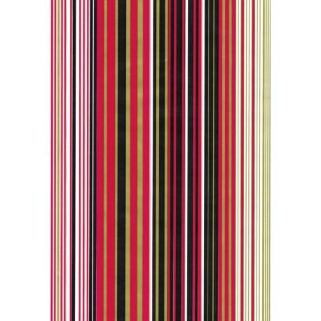 110 Mts x 70 cm Bobina de Papel de Regalo Rayas Rojo, Negro, Oro - Clásico Elegante