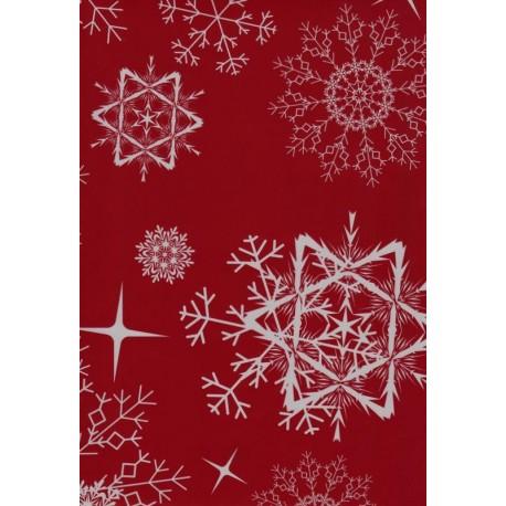 110 Mts X 35 cm Bobina papel de regalo copos nieve rojo navidad