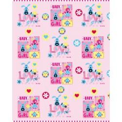 110 MTS x 30 CM BOBINA PAPEL PARA REGALO INFANTIL BABY GRIL