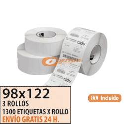 98X122 - 3 Rollos Etiquetas Térmicas