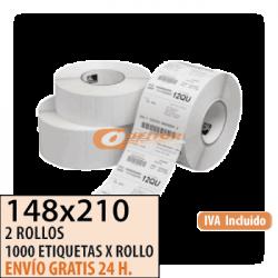 148X210 - 2 Rollos Etiquetas Térmicas