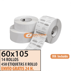 60X105 - 14 Rollos Etiquetas Térmicas