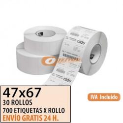 47X67 - 30 Rollos de Etiquetas Térmicas