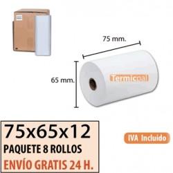 80 ROLLOS DE PAPEL TÉRMICO 75X65X12