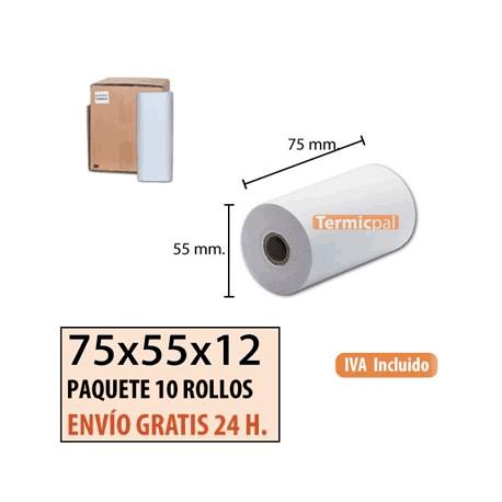 10 ROLLOS DE PAPEL TÉRMICO 75X55x12