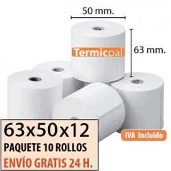 100 ROLLOS DE PAPEL TÉRMICO 63X50X12