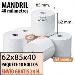 60 ROLLOS DE PAPEL TÉRMICO 62x85x40