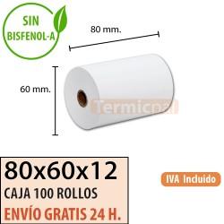 100 ROLLOS TÉRMICOS ECO 80X60 SIN BISFENOL
