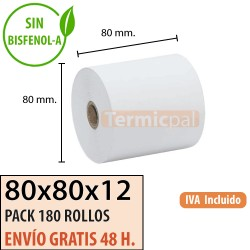 180 ROLLOS PAPEL TÉRMICO 80X80 SIN BISFENOL A