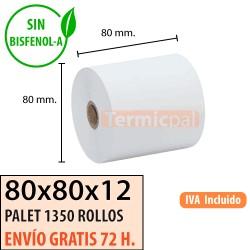 1350 ROLLOS PAPEL TÉRMICO 80X80 SIN BISFENOL A