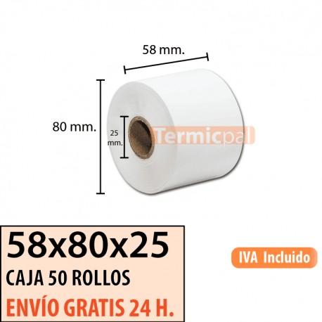 50 ROLLOS DE PAPEL TÉRMICO 58x80x25