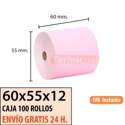 100 ROLLOS DE PAPEL TÉRMICO 60x55 ROSA