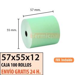 100 ROLLOS DE PAPEL TÉRMICO 57x55 VERDE