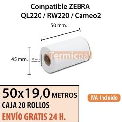 100 Rollos Térmicos 50mm x 19m. ZEBRA QL220 / RW220 y Cameo2 *50x45x12*