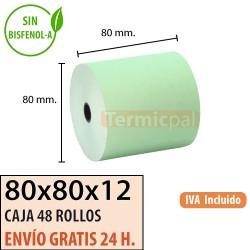 48 ROLLOS DE PAPEL TÉRMICO 80x80X12 VERDE SIN BPA