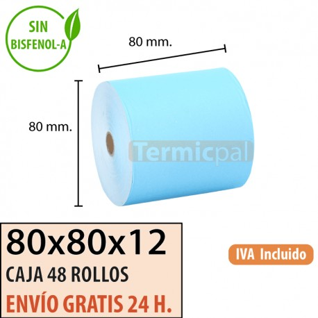 48 ROLLOS DE PAPEL TÉRMICO 80x80X12 AZUL SIN BPA