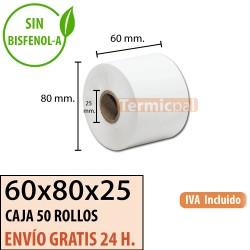 50 ROLLOS DE PAPEL TÉRMICO 60x80x25