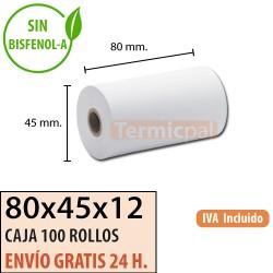 100 ROLLOS DE PAPEL TÉRMICO 80X45