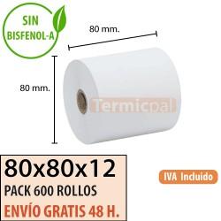600 ROLLOS DE PAPEL TÉRMICO 80X80X12