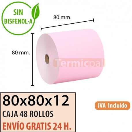 48 ROLLOS DE PAPEL TÉRMICO 80x80X12 ROSA