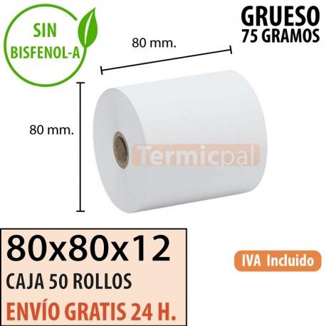 50 ROLLOS TÉRMICO EXTRAGRUESO 80X80 - 75 gr.
