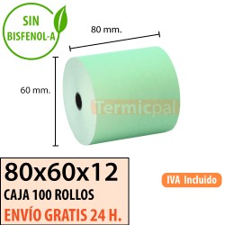 100 Rollos de Papel Térmico Verde 80x60