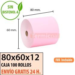 100 Rollos de Papel Térmico Amarillo 80x60