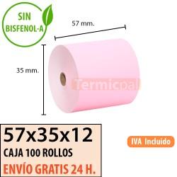 100 Rollos de Papel Térmico Amarillo 57x35