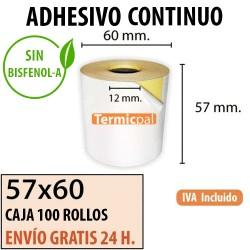 CAJA 100 ROLLOS TÉRMICO 57X60X12 ADHESIVO