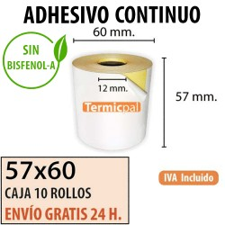 CAJA 10 ROLLOS TÉRMICO 57X60X12 ADHESIVO