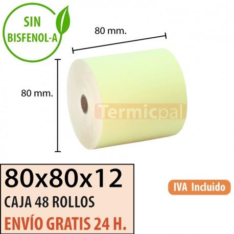 48 ROLLOS DE PAPEL TÉRMICO 80x80X12 AMARILLO
