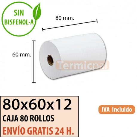 80 ROLLOS DE PAPEL TÉRMICO 80X60X12