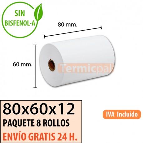 8 ROLLOS DE PAPEL TÉRMICO 80X60X12