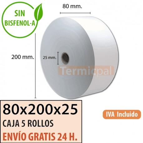 5 ROLLOS DE PAPEL TÉRMICO 80x200x25