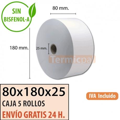 5 ROLLOS DE PAPEL TÉRMICO 80x180x25