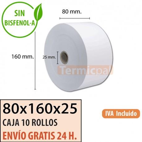 10 ROLLOS DE PAPEL TÉRMICO 80x160x25