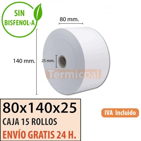 15 ROLLOS DE PAPEL TÉRMICO 80x140x25