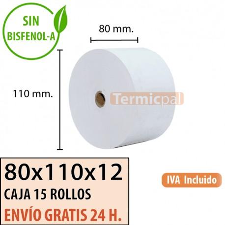 15 Rollos Papel Térmico 80x110x12