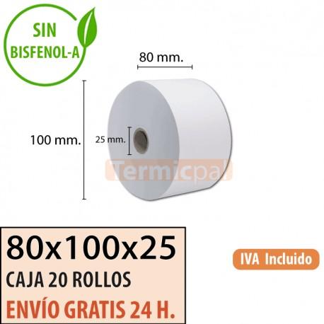 20 ROLLOS DE PAPEL TÉRMICO 80x100x25