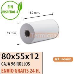 96 ROLLOS DE PAPEL TÉRMICO 80X55X12