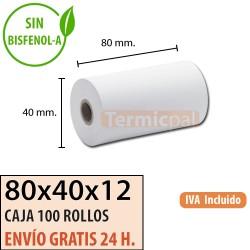 100 ROLLOS DE PAPEL TÉRMICO 80X40X12