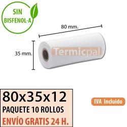 100 ROLLOS DE PAPEL TÉRMICO 80X35X12