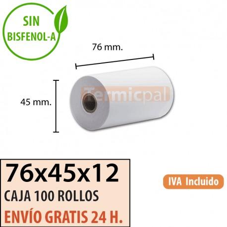 100 ROLLOS DE PAPEL TÉRMICO 76X45X12
