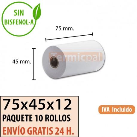 100 ROLLOS DE PAPEL TÉRMICO 75X45X12