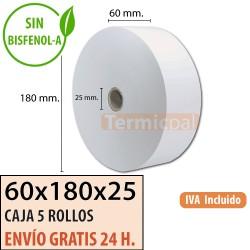 5 ROLLOS DE PAPEL TÉRMICO 60x180x25