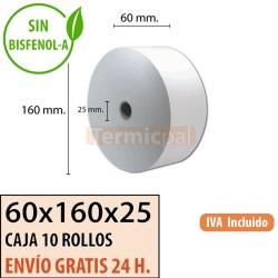 10 ROLLOS DE PAPEL TÉRMICO 60x160x25