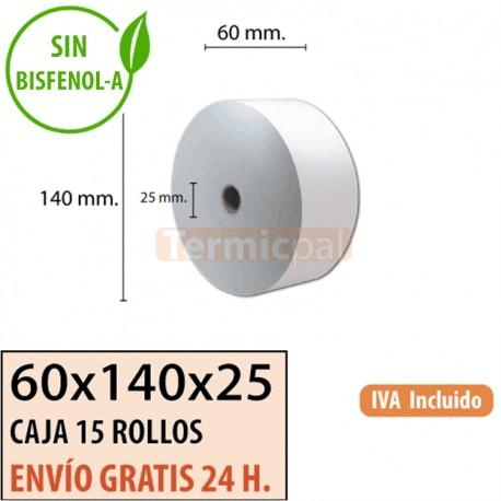 15 ROLLOS DE PAPEL TÉRMICO 60x140x25