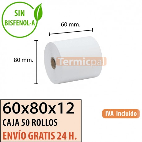 50 ROLLOS DE PAPEL TÉRMICO 60X80x12